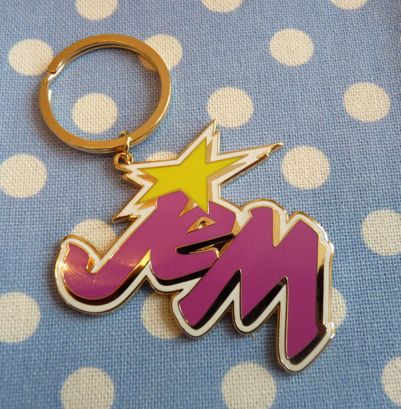Enamel Large JEM Logo 80s Cartoon Keyring Keychain by CartoonJunk