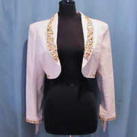 White Leather Half Jacket - Fringed, Rhinestones, Size S to M - Dangerous Threads. Nashville. hipster jacket