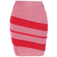 Bqueen Short Skirt Pink and Red H201F - Designer Shoes|Bqueenshoes.com