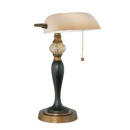 Desk Lamp, Bronze/Dark Bronze W/Glass Shade, Type A 60W