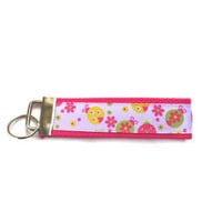 Key Chain, wrist-let,  Key Fob in Pink with pink flowered ribbon