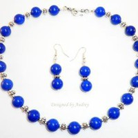 Sizzling Lapis Blue Marble Necklace and Earring Set by DesignedbyAudrey on Zibbet