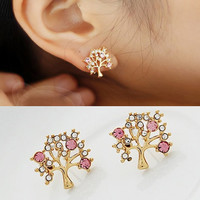 Diamond blessing tree stud earring
