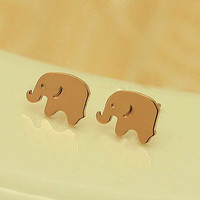 18K Rose Gold Cute Elephant Stud Earring