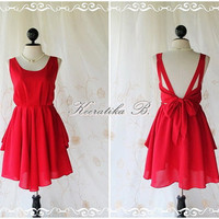 A Party - V Shape Style - Prom Party Cocktail Bridesmaid Dinner Wedding Night Dress Dark Burgundy Glamorous Cocktail Dress
