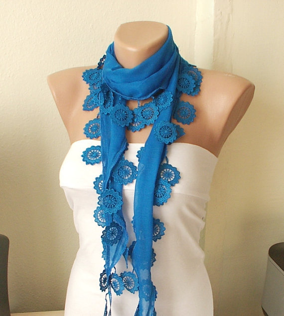 Royal Blue 100 Cotton Spring Scarf with Lace by Periay on Etsy
