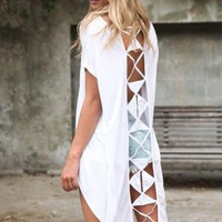 White Hi-Low Top with Geometric Cutout Back Detail