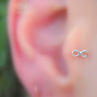 Infinity Studs/Tragus Earrings Sterling by Holylandstreasures