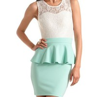 Lace-Top Scuba Peplum Dress: Charlotte Russe
