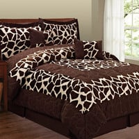 Fashion Street Animal Print 6-piece Micro Suede Comforter Set | Overstock.com
