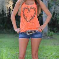 cute neon hunting antler heart tank top