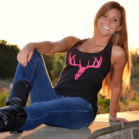 Pink Deer hunting skull top