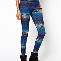 ASOS Leggings in Blue Rainbow Aztec Print at asos.com