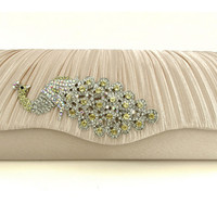 Crystal Peaccok Pleated Beige Clutch. Bridal Clutch. Cocktail Purse