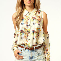 Lizzy Cut Out Shoulder Navaho Shirt