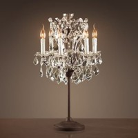19th C. Rococo Iron &amp; Crystal Table Lamp | Table | Restoration Hardware