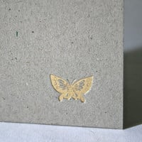 Handmade Hardcover Journal with Recycled Pages and Stamped Gold Butterfly for Writing Sketching Stocking Stuffer