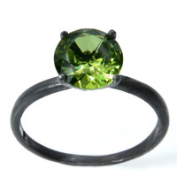 Peridot Ring with Blackened Sterling Silver, Peridot Birthstone Ring