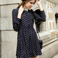 Retro Lapel Polka Dot Dress RB004