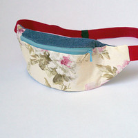 Fanny pack waist bag belt bag hip bag by BartekDesign - flower women spring red neutral jeans denim blue