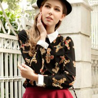 Retro Lapel Long-sleeved Chiffon Shirt RB002