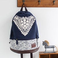 Navy Canvas Backpack with Lace