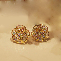 The fashion rhinestone Camellia earrings &amp;stud