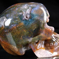"Huge 5.0"" Green Moss Agate Carved Crystal Skull, Super Realistic"