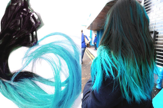 black to turquoise ombre hair - photo #11