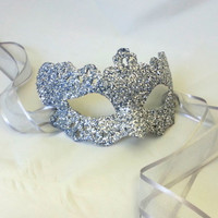 Silver Lady Filigree Shimmer Venetian Masquerade Masked Ball Mask