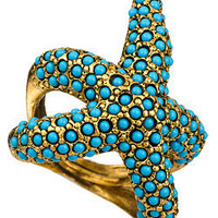 Max &amp; Chloe - Kenneth Jay Lane Turquoise Starfish Ring - Max and Chloe