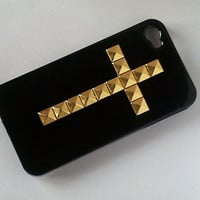 Gold  Studded Iphone 4 4S Black Hard CaseH31 by samphilip2012