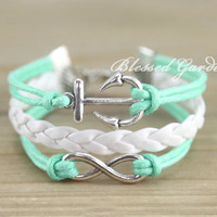 bracelet, mint bracelet,infinity bracelet,anchor bracelet, infinity love, aqua bracelet, bridesmaid bracelet, friendship gift