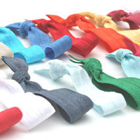 Yoga Hair Tie Bracelet (15) Grab Bag - Knotted Ribbon Hair Bands - Emi Jay Like Elastic Hippie Hair Ties - Girls, Women's Hair Accessories