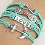 Infinity bracelet, owls bracelet, anchor bracelet, love bracelet, mint green bracelet, friendship gift, 13-21