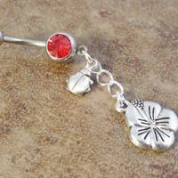 Ladybug and Flower Red Belly Button Ring Jewelry Belly Ring