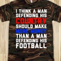 Defending His Country vs Football - Text First