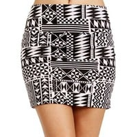 Pre-Order:White/Black Tribal Body Con Mini Skirt