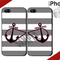 Nautical Best Friends iPhone Case - iPhone 4 Case or iPhone 5 Case - Infinity Anchor iPhone - Striped iPhone Case - Two Case Set