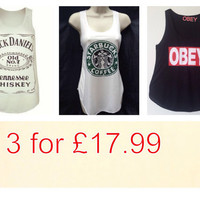Obey jack daniels and starbucks coffee tank tops by Unisexworld