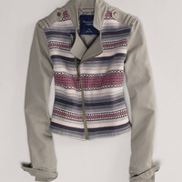 AEO Women's Embroidered Moto Jacket (Olive)