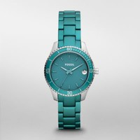 FOSSIL® Watch Collections Stella:Womens Stella Mini Aluminum and Stainless Steel Watch ? Teal ES3044