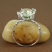 Sterling Silver Oval Green Amethyst Ring gemstone by tooriginal