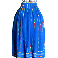 Vintage Blue Skirt Multi Colored Stripe Design by Campus Casuals w/ Two Side Pockets