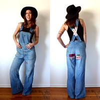 70's Denim Bell Bottom Overalls Vintage Sanforized Jeans