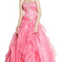 Beaded Chiffon Ruffle Ball Gown | Junior Plus Size Prom Dresses