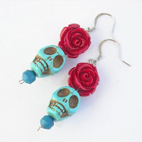 Turquoise Blue Day of the Dead Skull Earrings With Red Roses by InkandRoses13