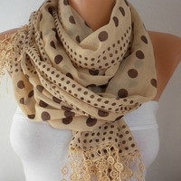 Mustard  Scarf   Cotton Scarf Headband Necklace Cowl by fatwoman-s04