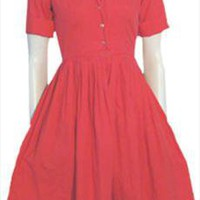 Laure Lynn 1950s Red Vintage Cotton Dress