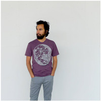 Tshirt for men - full moon print on heather plum mens t shirt - gift for him, moon shirt - mens fashion